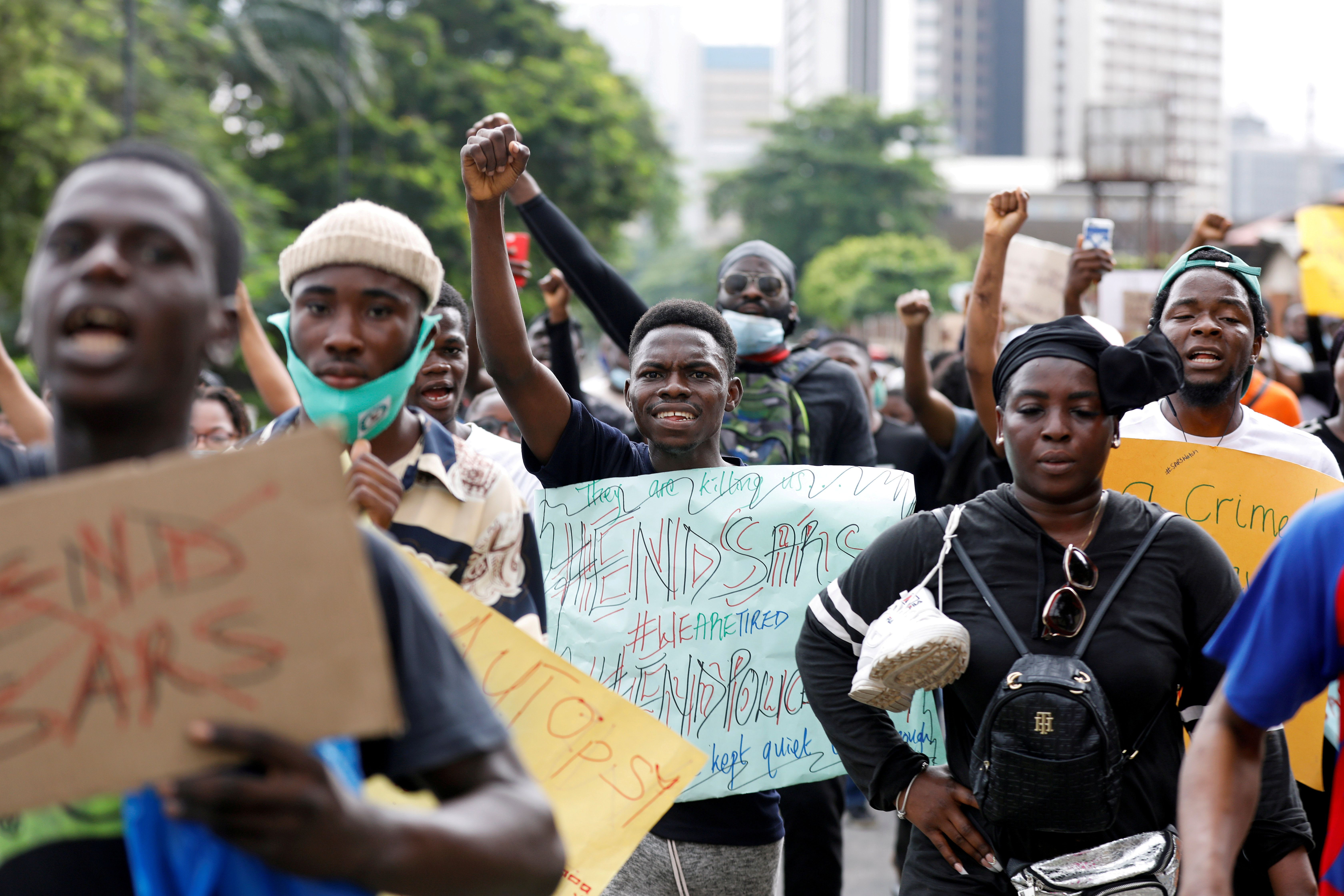 Nigerians take part in a protest against alleged violence, extortion and harassment from SARS in Lagos. Reuters