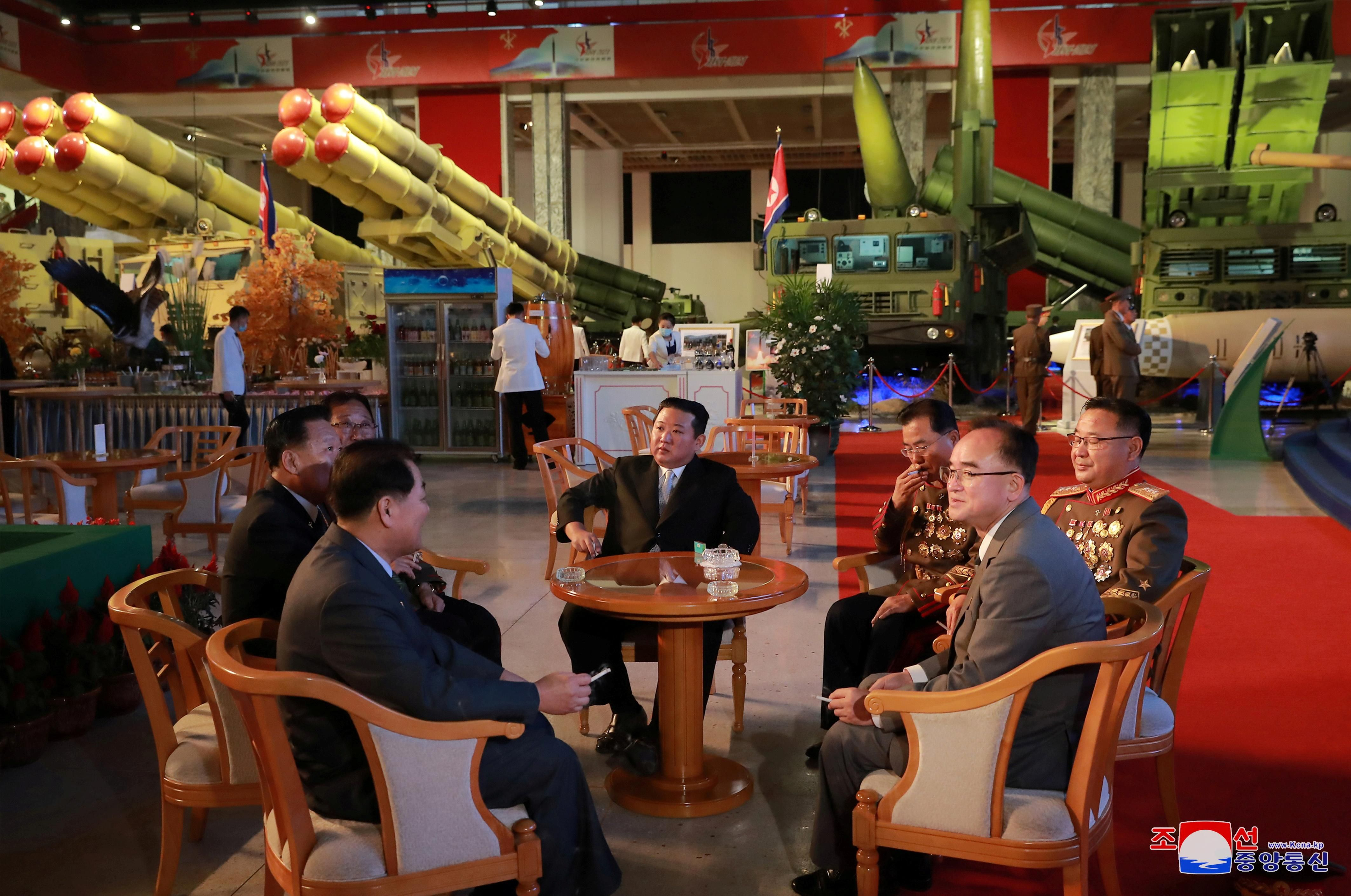 North Korea's leader Kim Jong Un attends the Defence Development Exhibition, in Pyongyang, North Korea, in this undated photo released on October 12, 2021 by North Korea's Korean Central News Agency