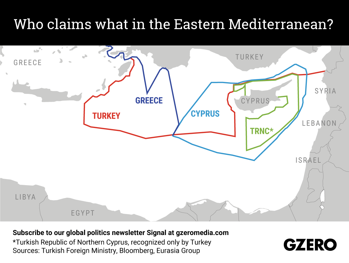 Overlapping claims by Greece, Cyprus and Turkey in the Eastern Mediterranean. Graphic by Gabriella Turrisi