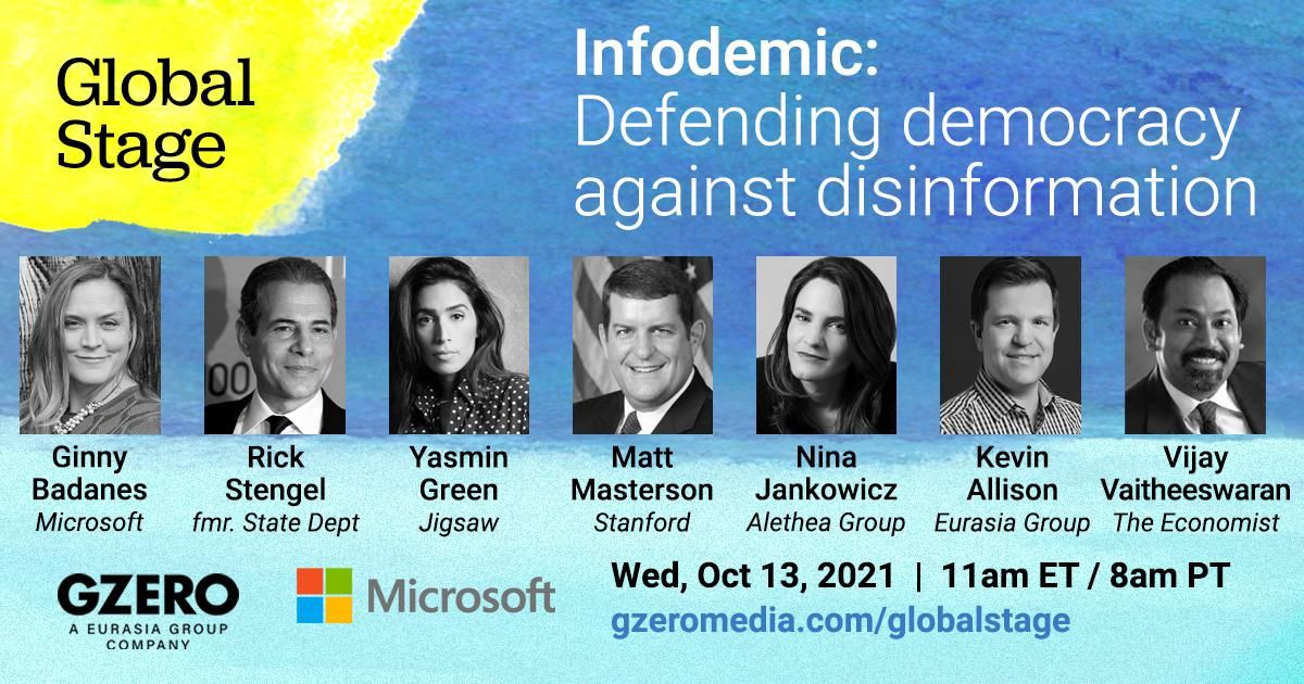 Panel graphic with headshots of experts: Defending democracy against disinformation