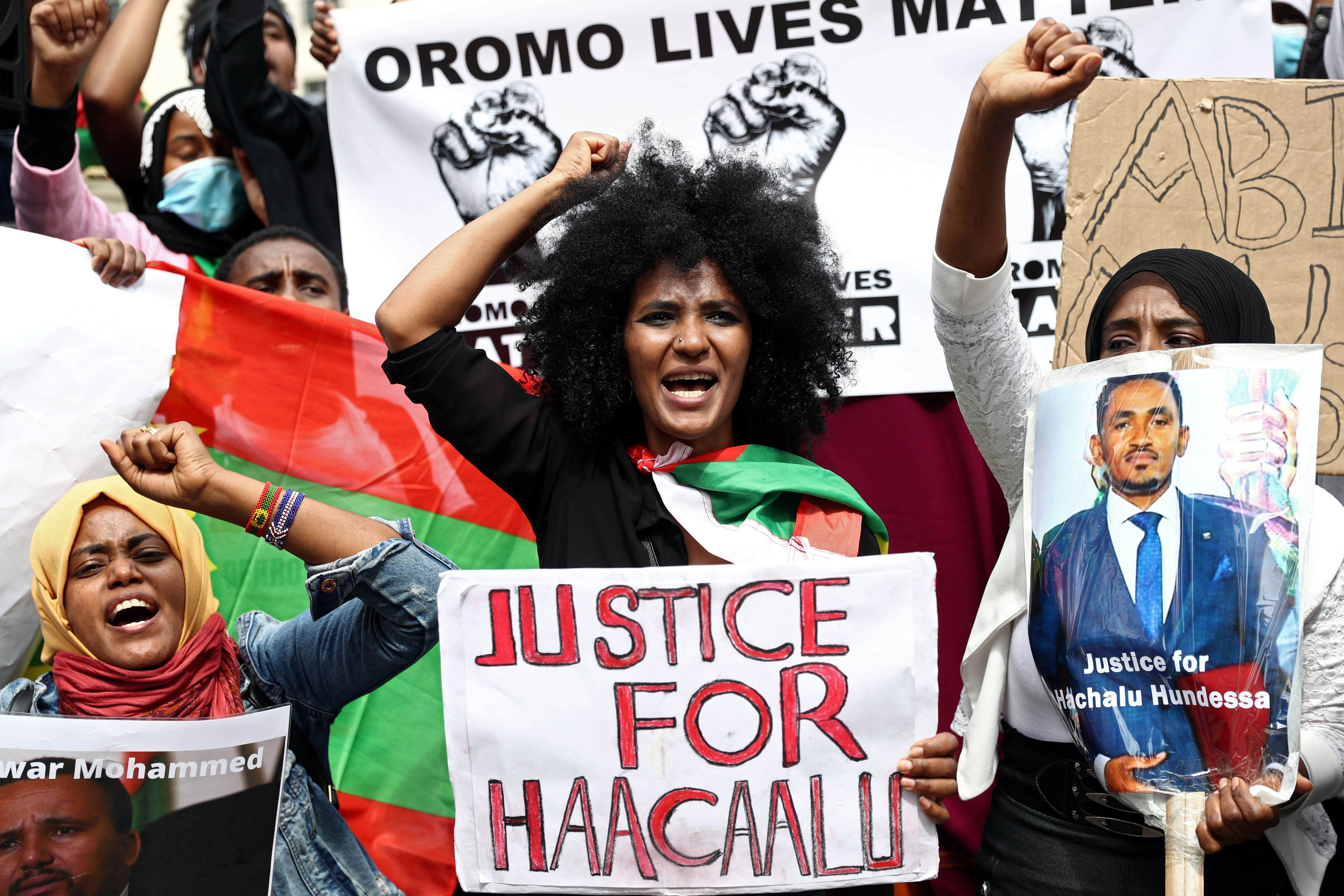 People gather to protest against the treatment of Ethiopia's ethnic Oromo group, July 3, 2020