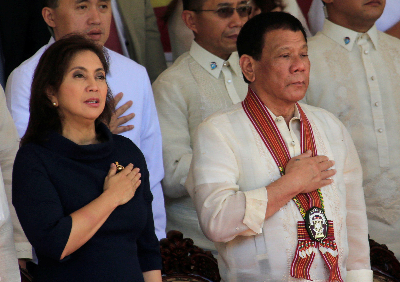 Philippine President Rodrigo Duterte (R) and Vice President Leni Robredo (L). Reuters
