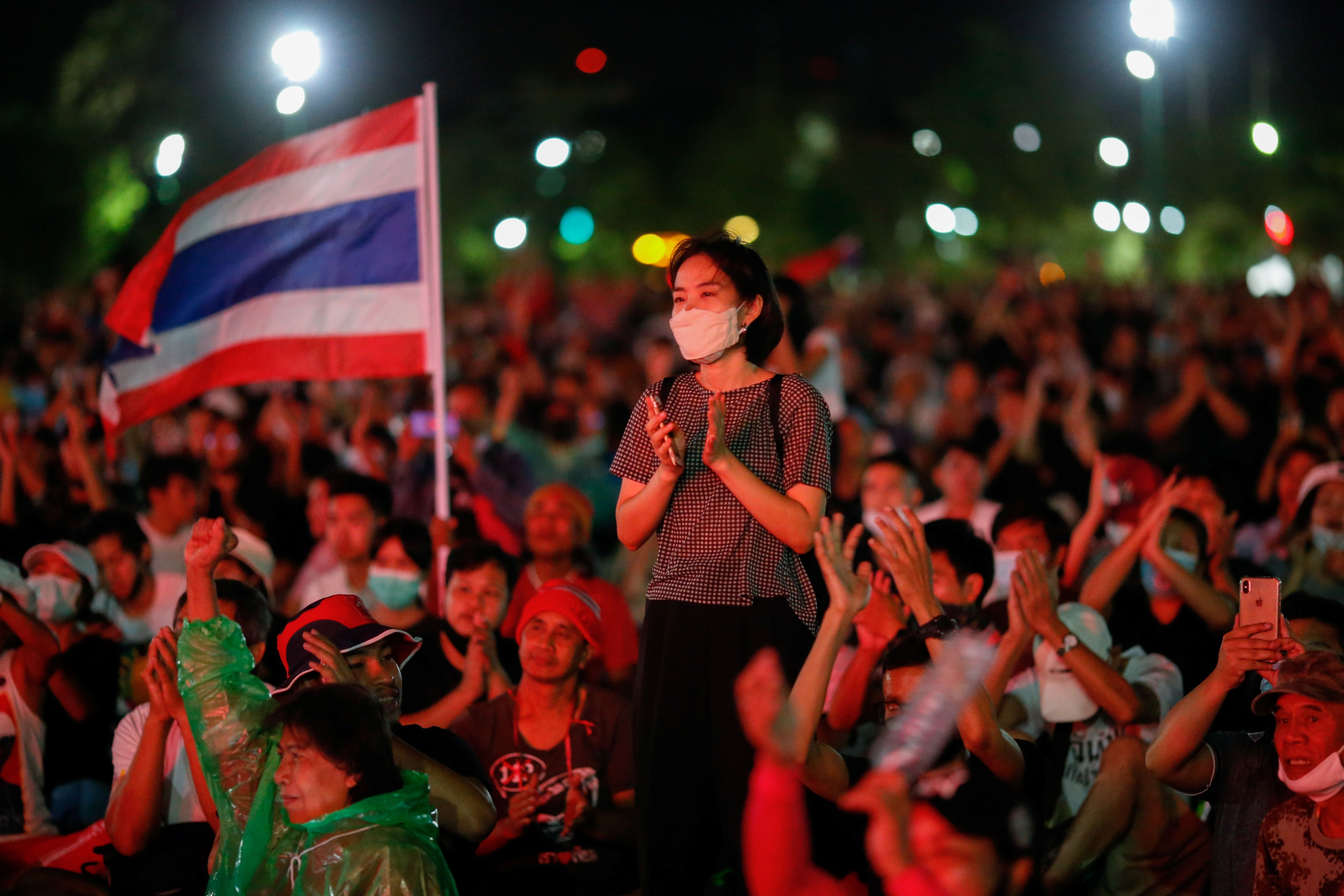 Pro-democracy protesters attend a mass rally  in Bangkok, Thailand. Reuters