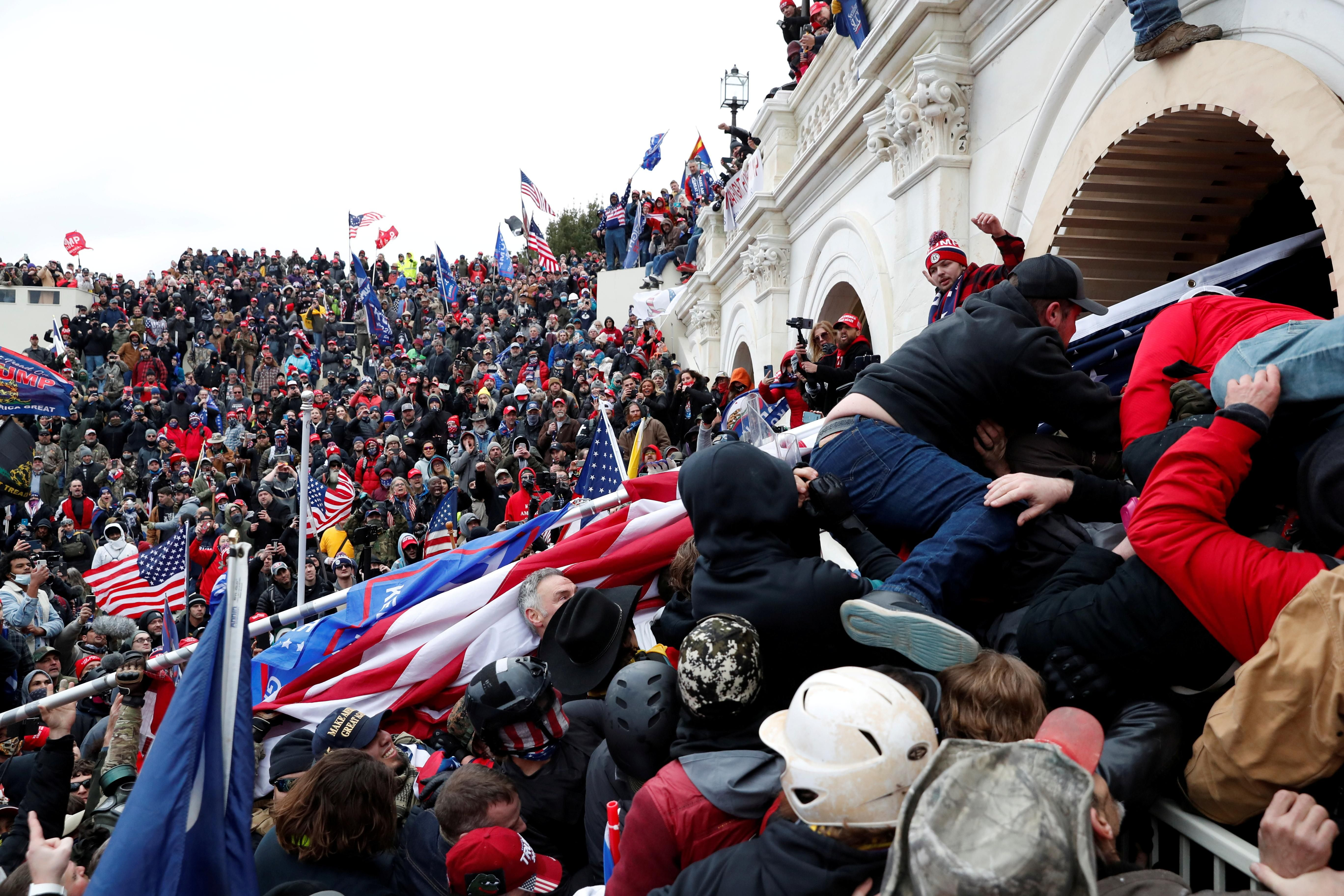 Pro-Trump protesters storm into the U.S. Capitol during clashes with police. Reuters