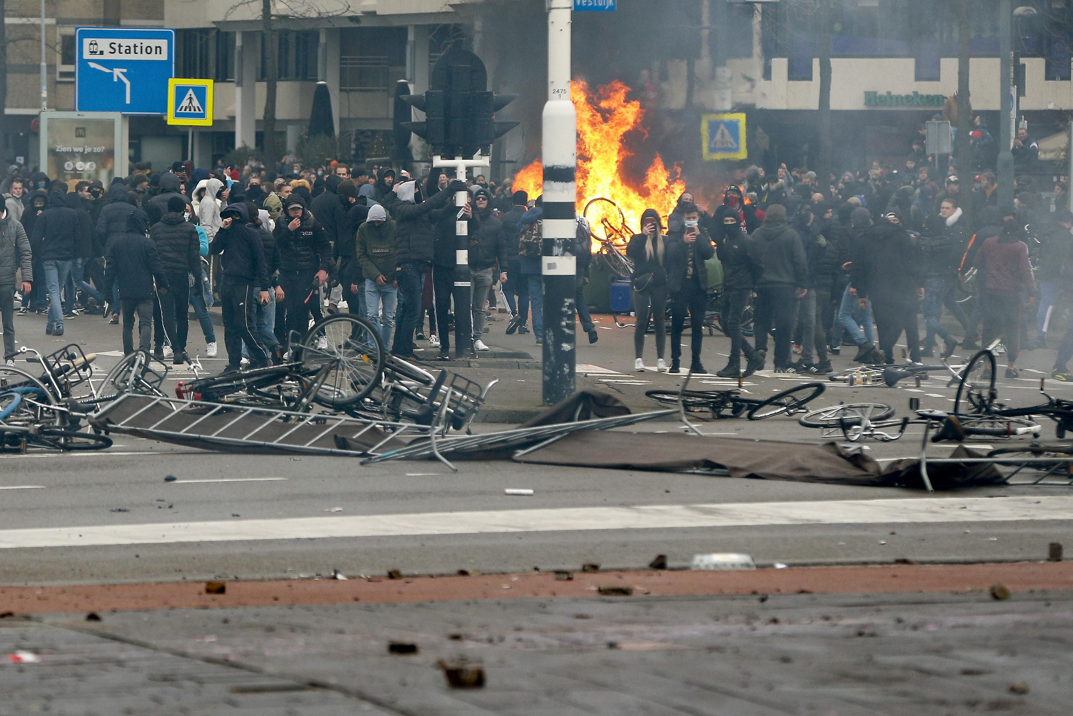 Protests during the Dutch lockdown in Eindhoven, Netherlands.