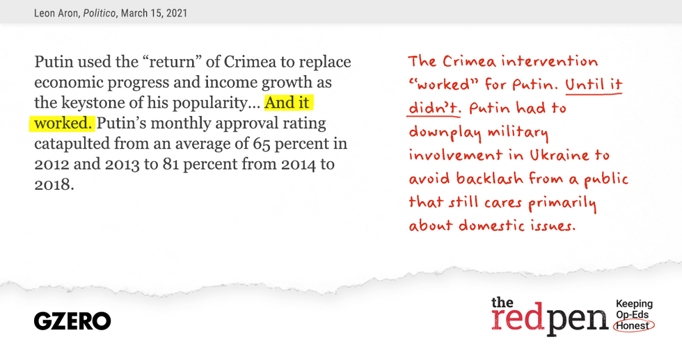 """""""Putin used the 'return' of Crimea to replace economic progress and income growth as the keystone of his popularity...And it worked."""" The Crimea intervention """"worked"""" for Putin. Until it didn't."""
