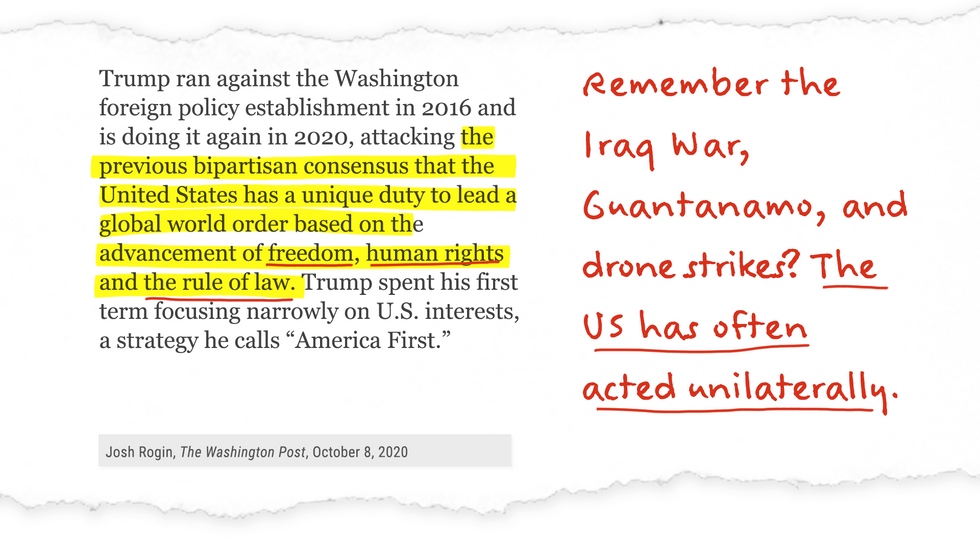 Remember the Iraq War, Guantanamo, and drone strikes? The US has often acted unilaterally.