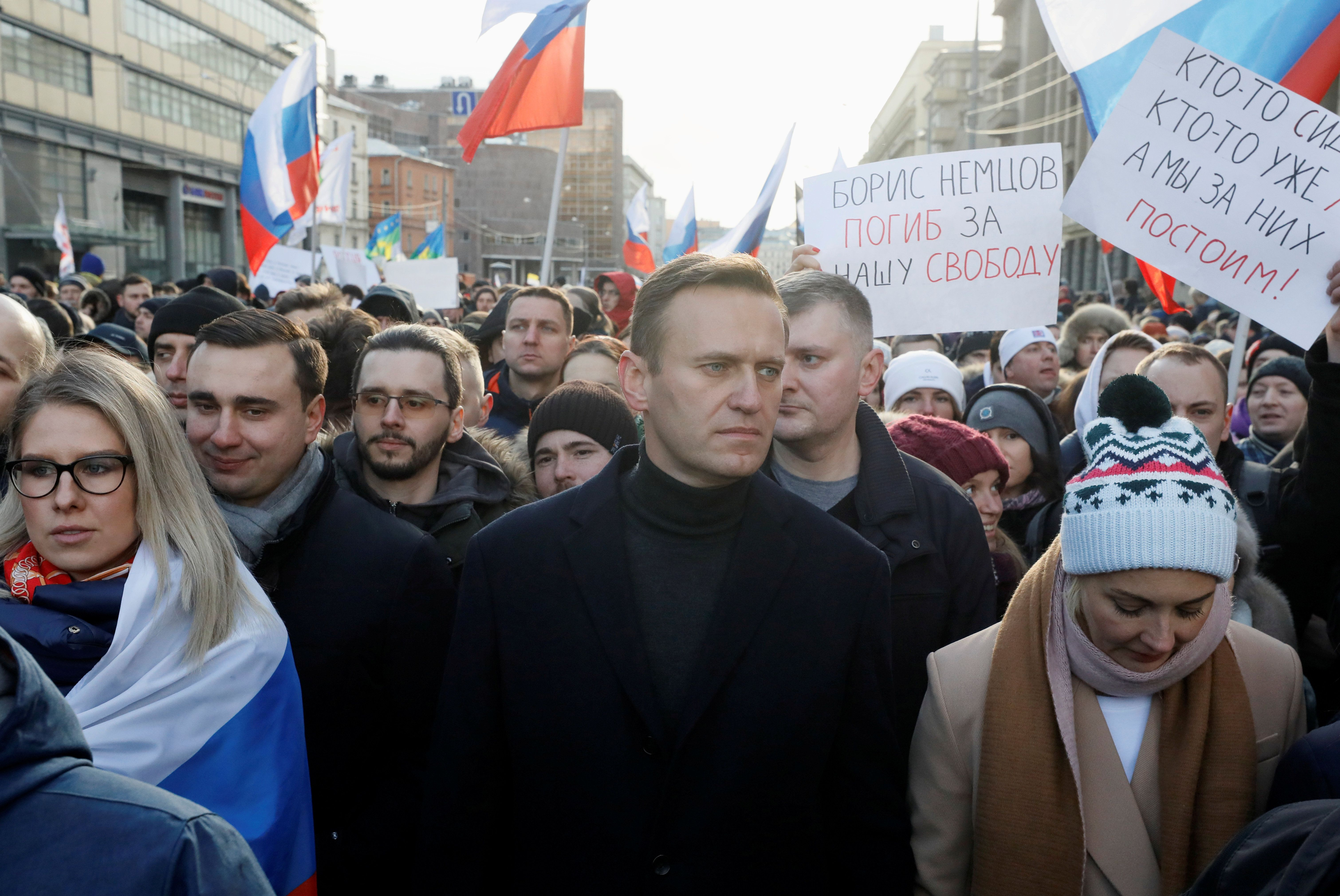 Russian opposition politician Alexei Navalny at a rally in Moscow.