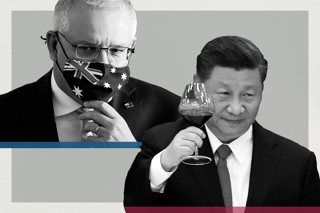 Side-by-side images of Australian Prime Minister Scott Morrison and Chinese President Xi Jinping