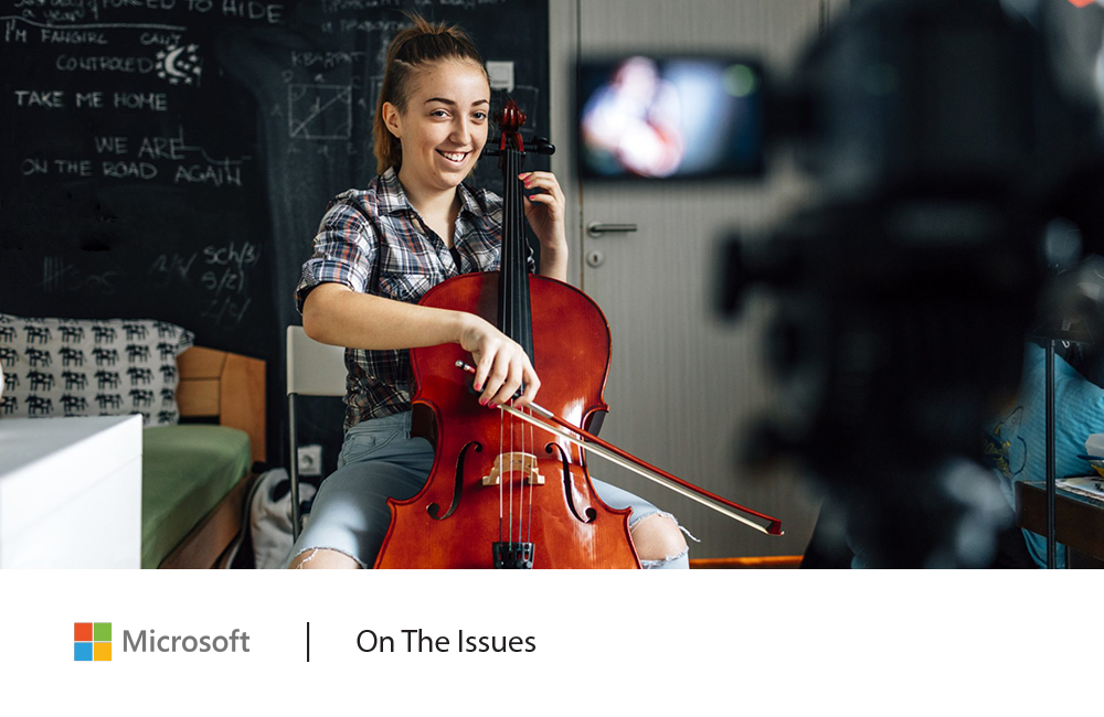 Teen girl playing cello: New Microsoft data shows improved civility online, driven by teens