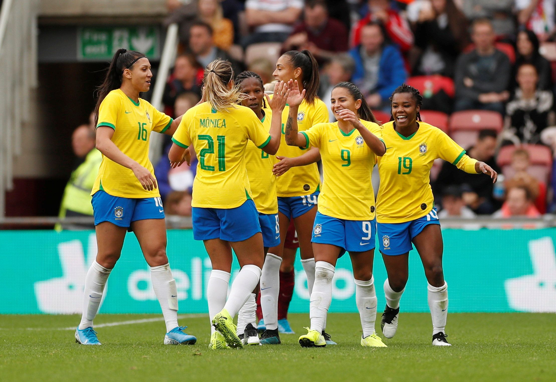 The Brazilian women's national football team during a friendly game with England in Middlesbrough, UK.