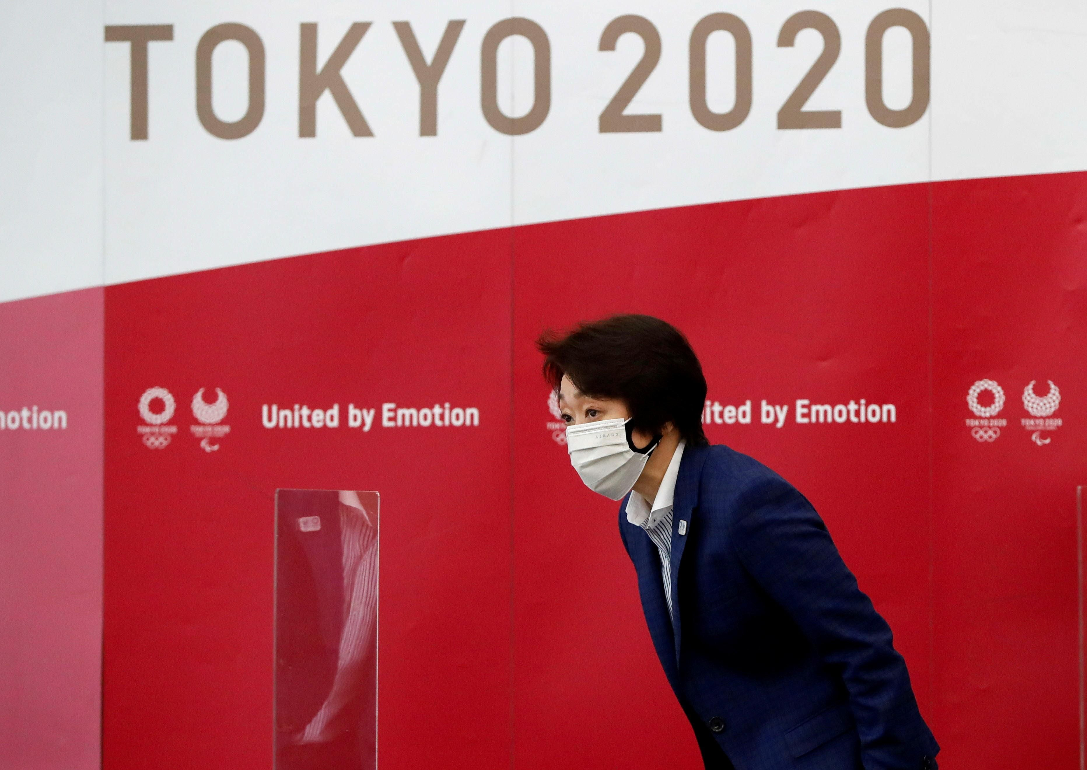 Tokyo 2020 Olympics Organising Committee President Seiko Hashimoto bows upon her arrival at the fourth roundtable meeting with medical experts to discuss on coronavirus disease (COVID-19) countermeasures, in Tokyo, Japan June 18, 2021.