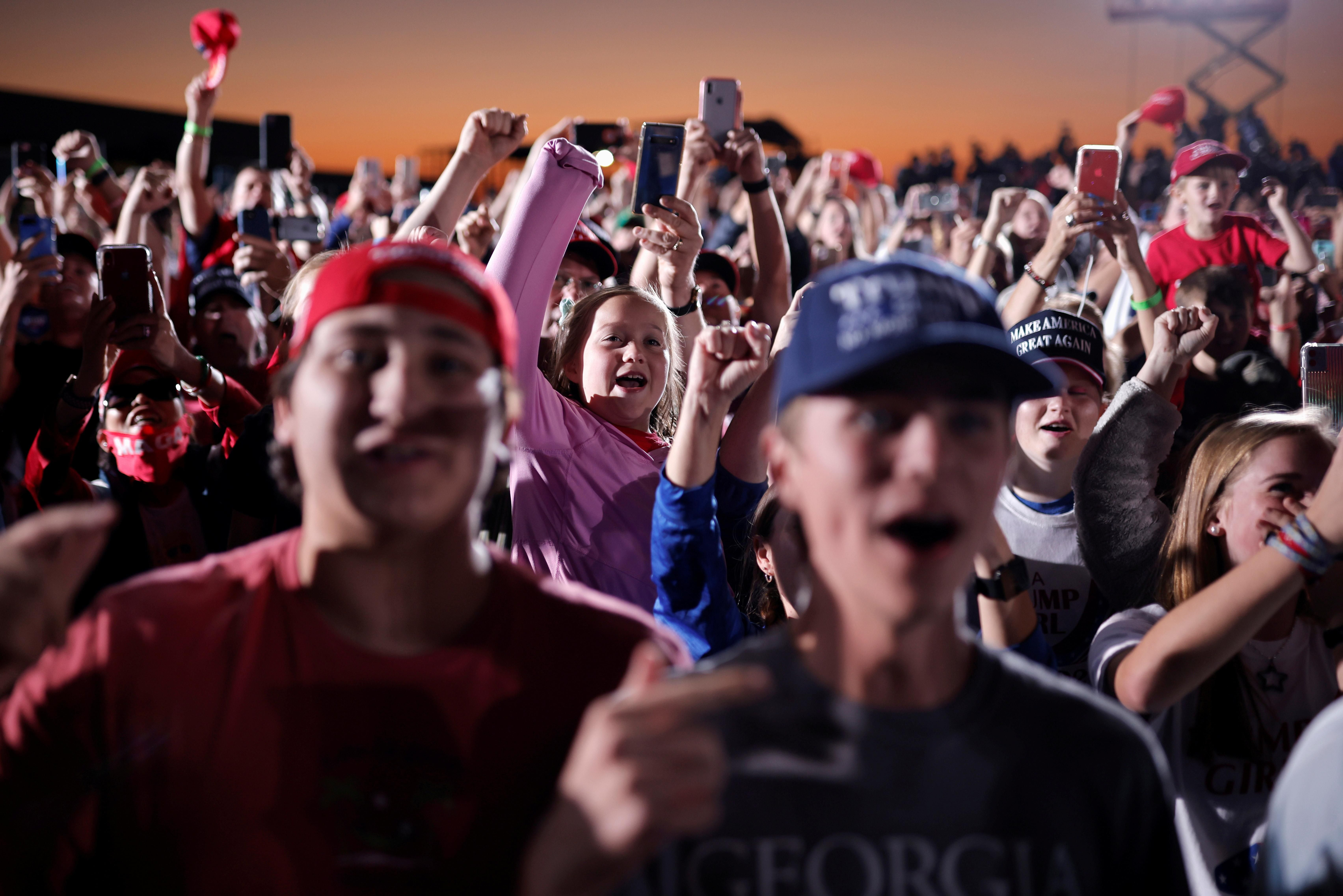 Trump supporters attend an election campaign rally in Georgia. Reuters