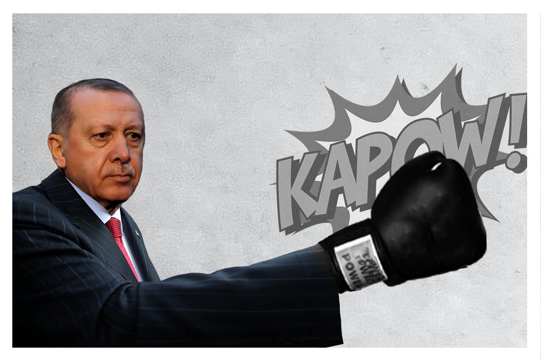 Turkey's President Erdogan wearing a boxing glove