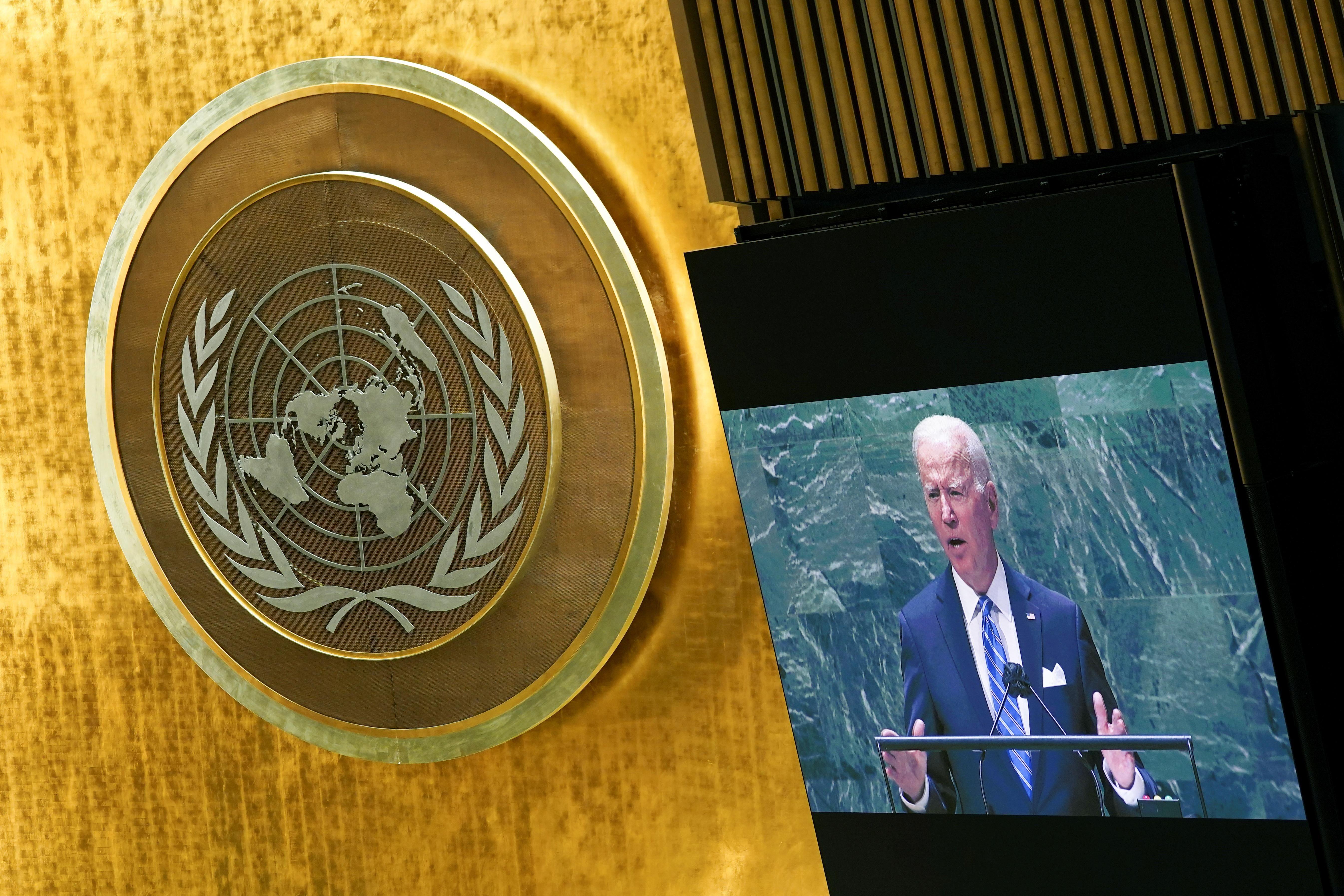 U.S. President Joe Biden addresses the 76th Session of the U.N. General Assembly in New York City, U.S., September 21, 2021