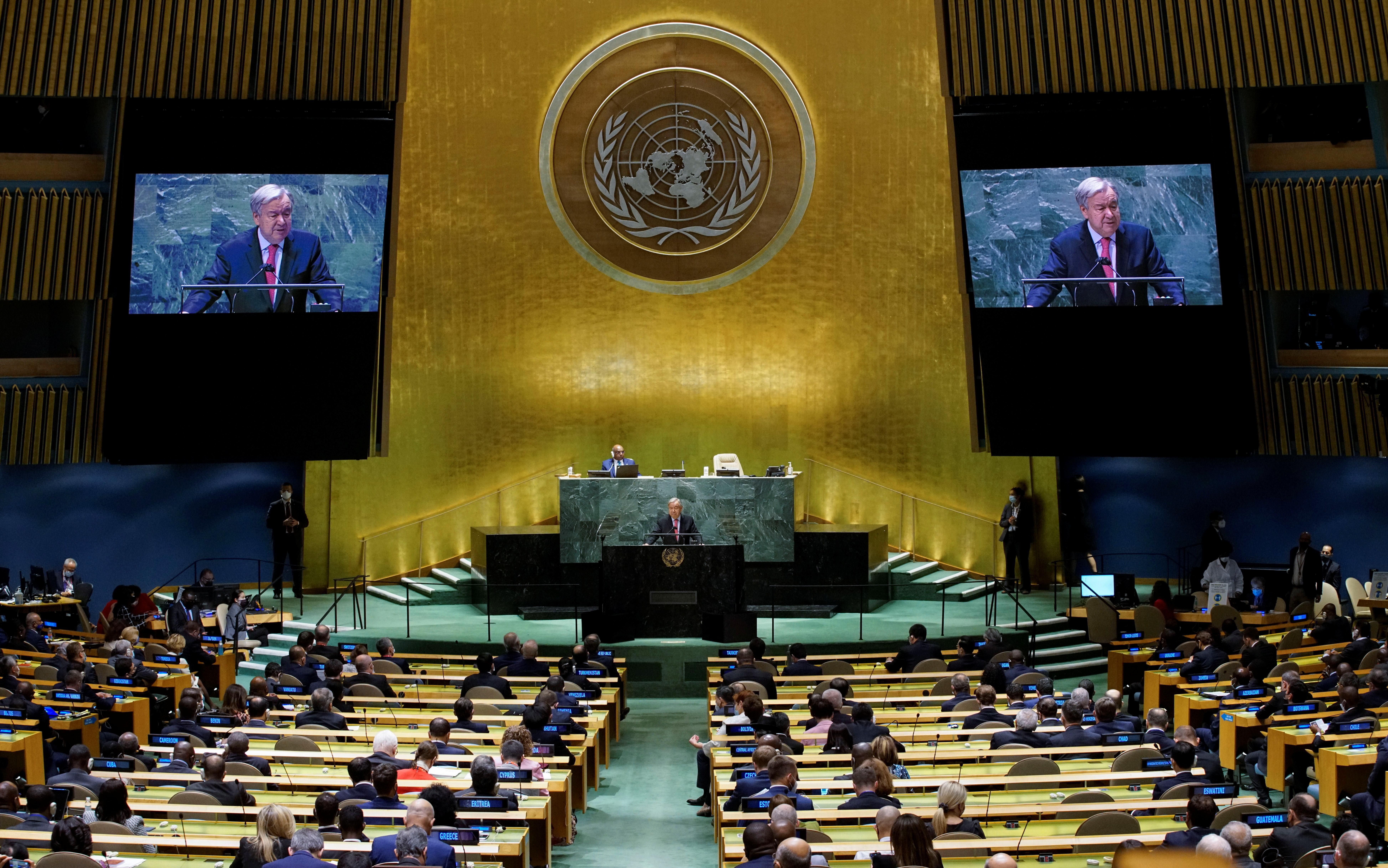 United Nations Secretary-General Antonio Guterres addresses the 76th Session of the U.N. General Assembly in New York City, U.S., September 21, 2021