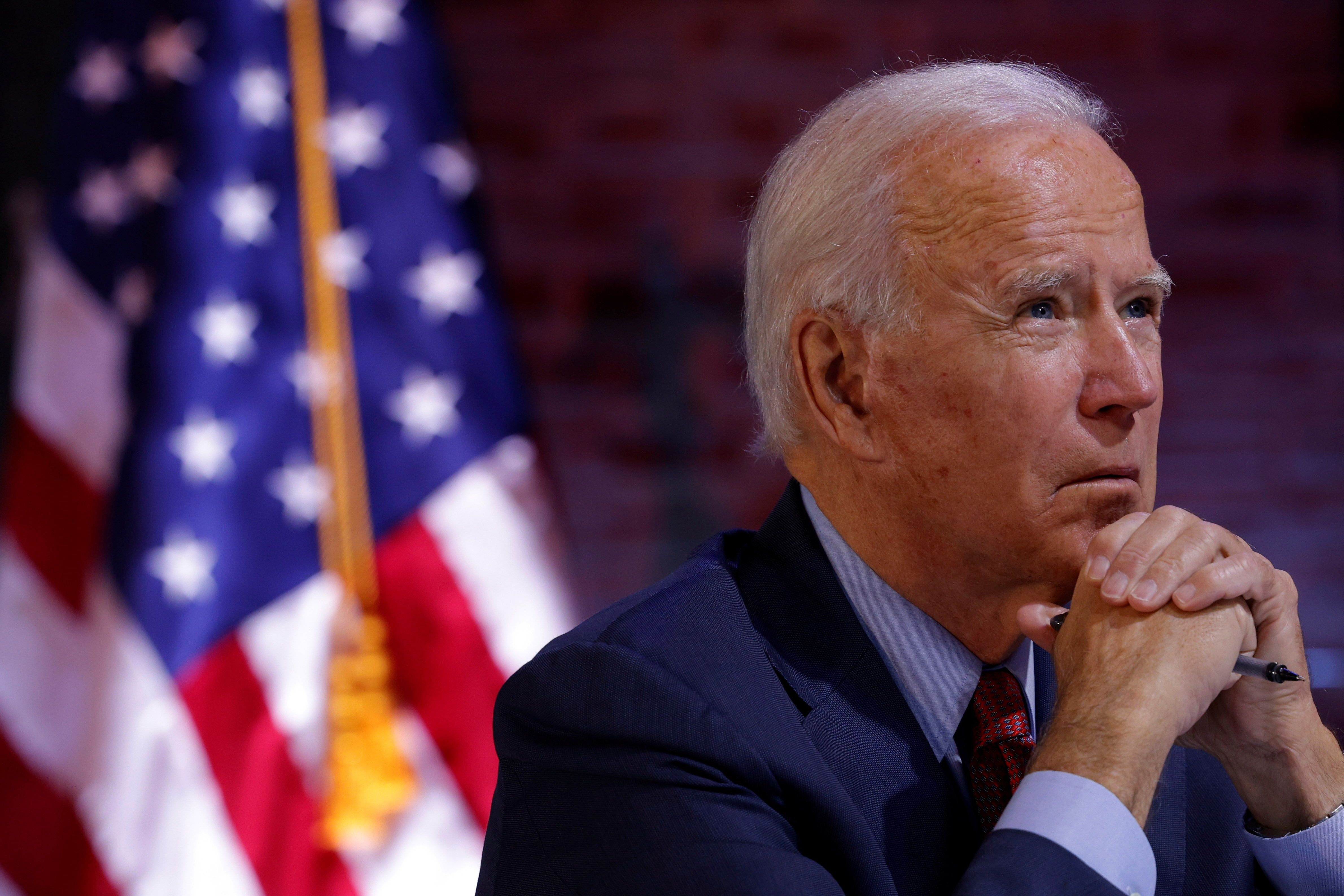 US President-elect Joe Biden takes part in a health briefing in Wilmington. Reuters
