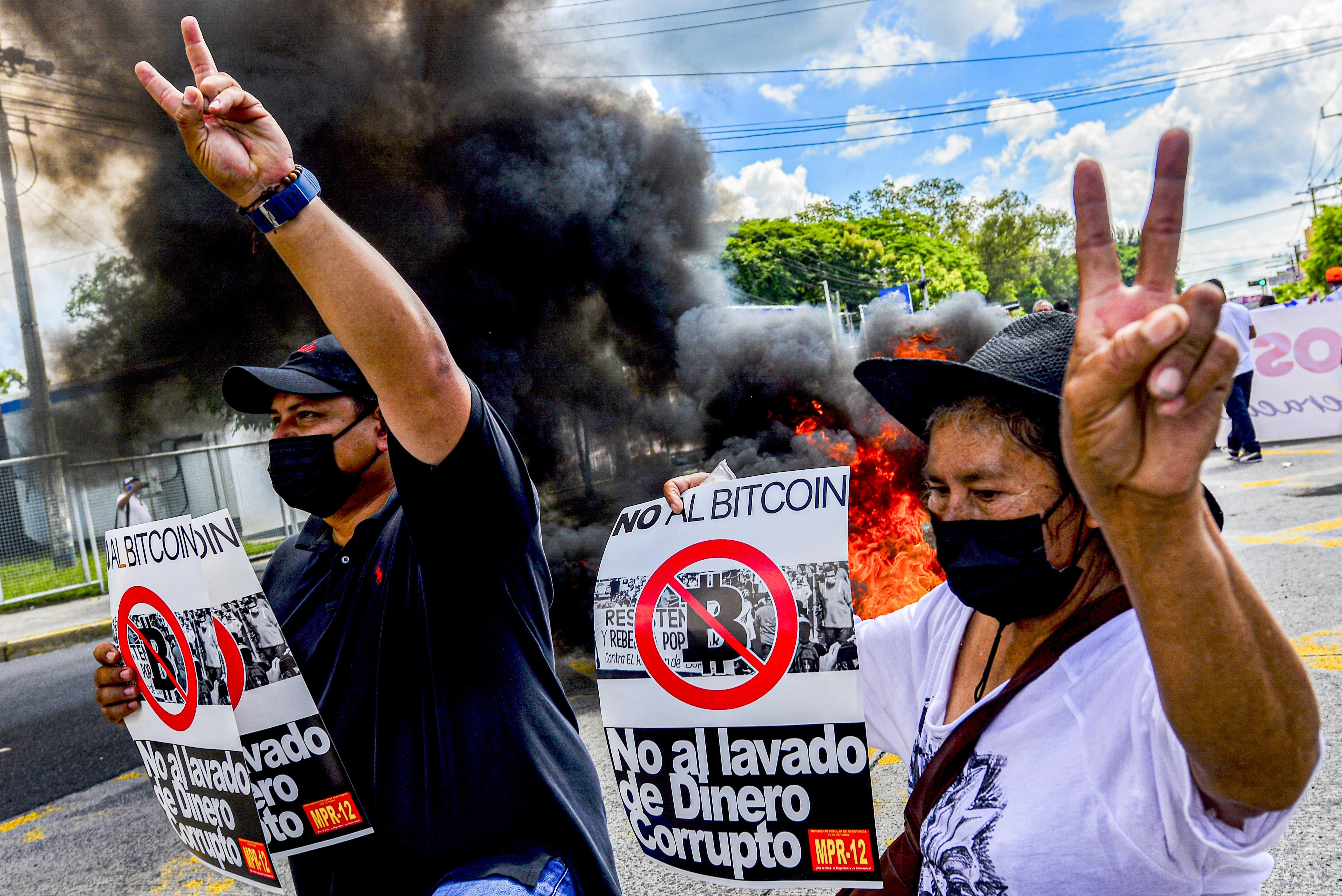 What We're Watching: Salvadorans protest Bitcoin, meet Aukus, no COVID pass no job in Italy